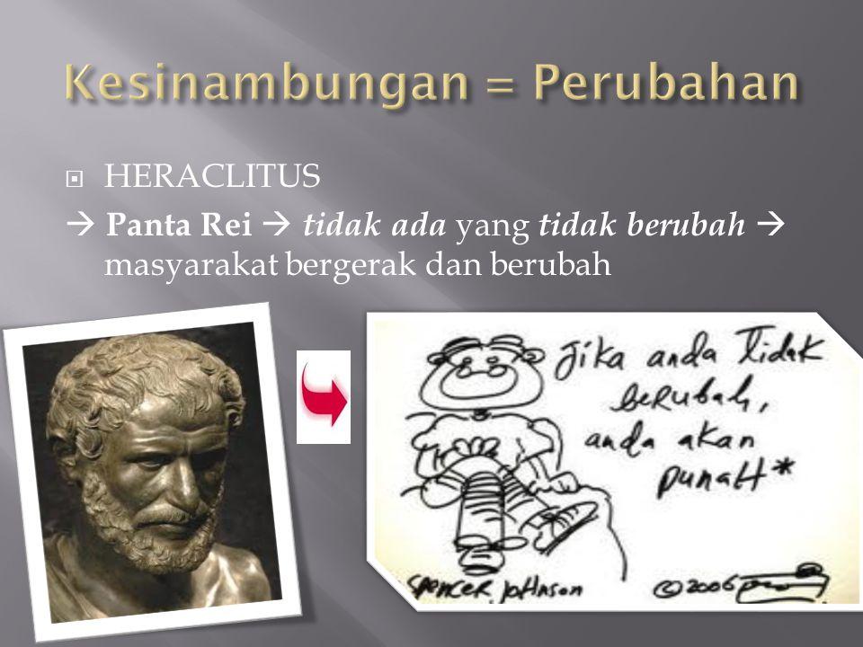  HERACLITUS  Panta Rei  tidak ada yang tidak berubah  masyarakat bergerak dan berubah