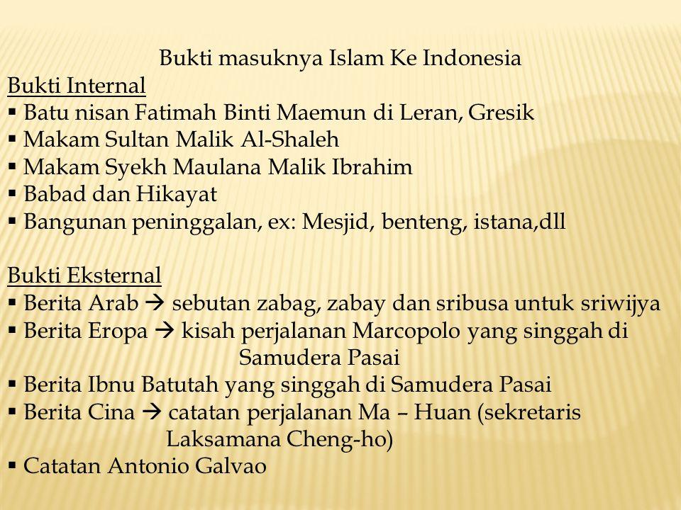 Bukti masuknya Islam Ke Indonesia Bukti Internal  Batu nisan Fatimah Binti Maemun di Leran, Gresik  Makam Sultan Malik Al-Shaleh  Makam Syekh Maula