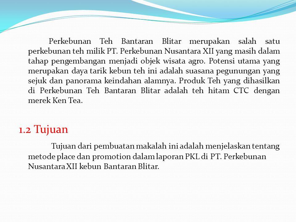 Perkebunan Teh Bantaran Blitar merupakan salah satu perkebunan teh milik PT. Perkebunan Nusantara XII yang masih dalam tahap pengembangan menjadi obje