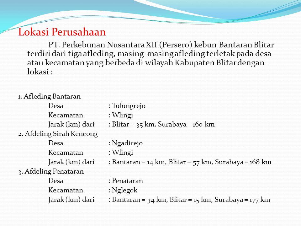 Lokasi Perusahaan PT. Perkebunan Nusantara XII (Persero) kebun Bantaran Blitar terdiri dari tiga afleding, masing-masing afleding terletak pada desa a
