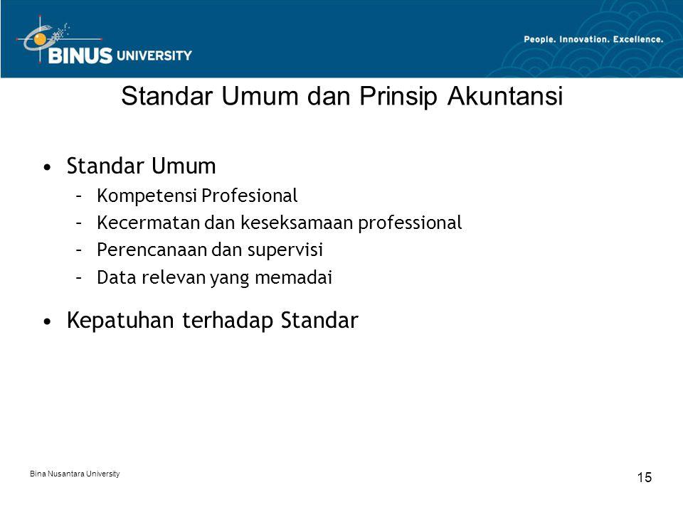 Bina Nusantara University 15 Standar Umum dan Prinsip Akuntansi Standar Umum –Kompetensi Profesional –Kecermatan dan keseksamaan professional –Perencanaan dan supervisi –Data relevan yang memadai Kepatuhan terhadap Standar