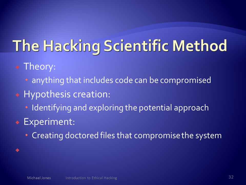  Theory:  anything that includes code can be compromised  Hypothesis creation:  Identifying and exploring the potential approach  Experiment:  C