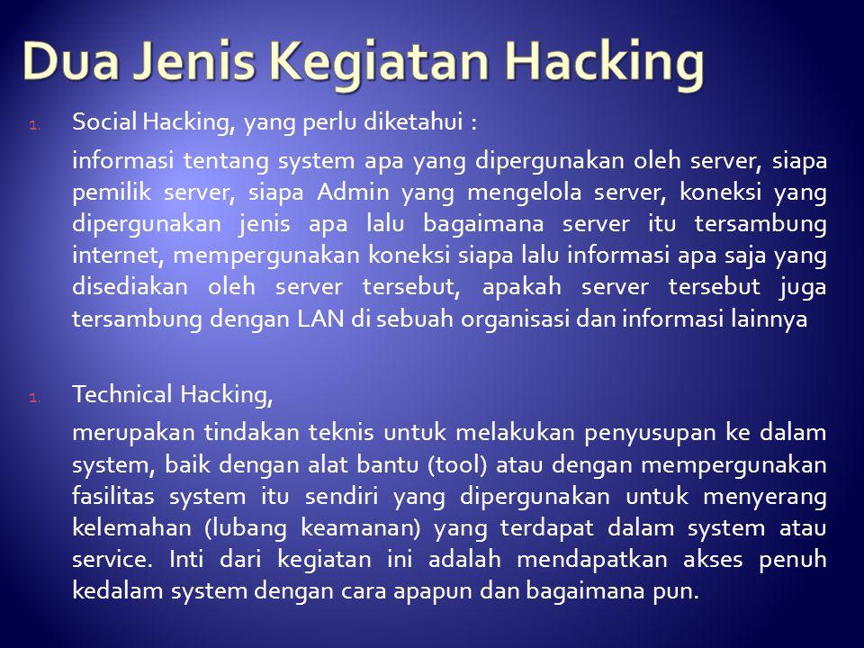 1. Social Hacking, yang perlu diketahui : informasi tentang system apa yang dipergunakan oleh server, siapa pemilik server, siapa Admin yang mengelola