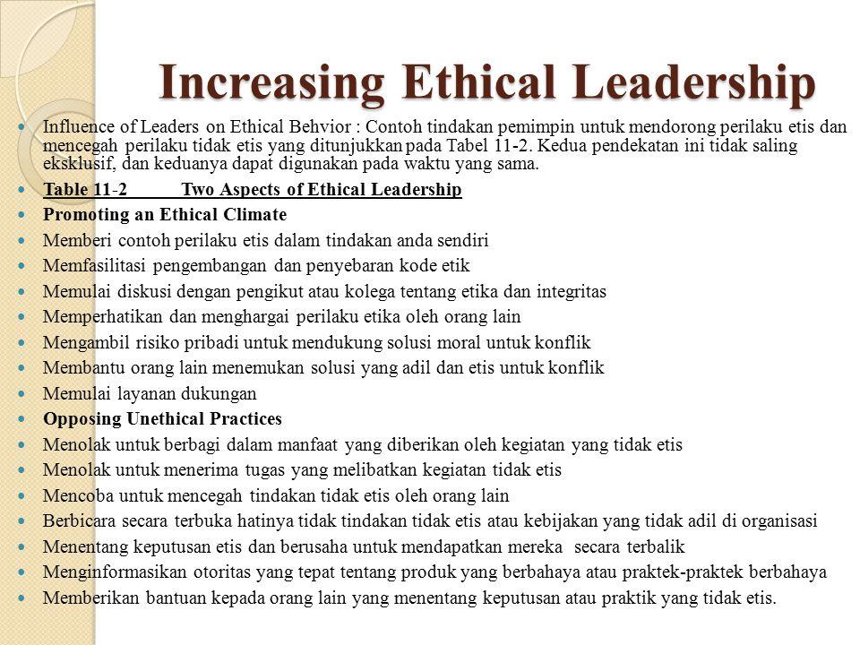 Increasing Ethical Leadership Influence of Leaders on Ethical Behvior : Contoh tindakan pemimpin untuk mendorong perilaku etis dan mencegah perilaku t