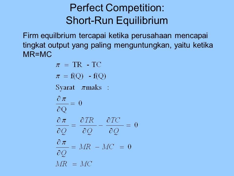 Firm equilbrium tercapai ketika perusahaan mencapai tingkat output yang paling menguntungkan, yaitu ketika MR=MC Perfect Competition: Short-Run Equili
