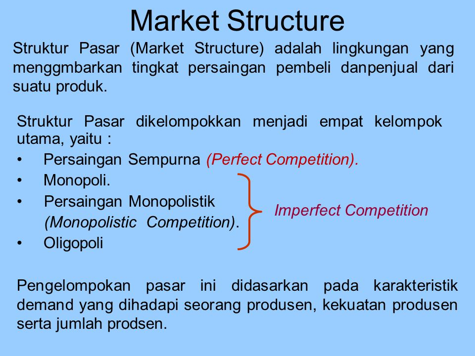 Market Structure Perfect Competition Monopolistic Competition Oligopoly Monopoly More Competitive Less Competitive