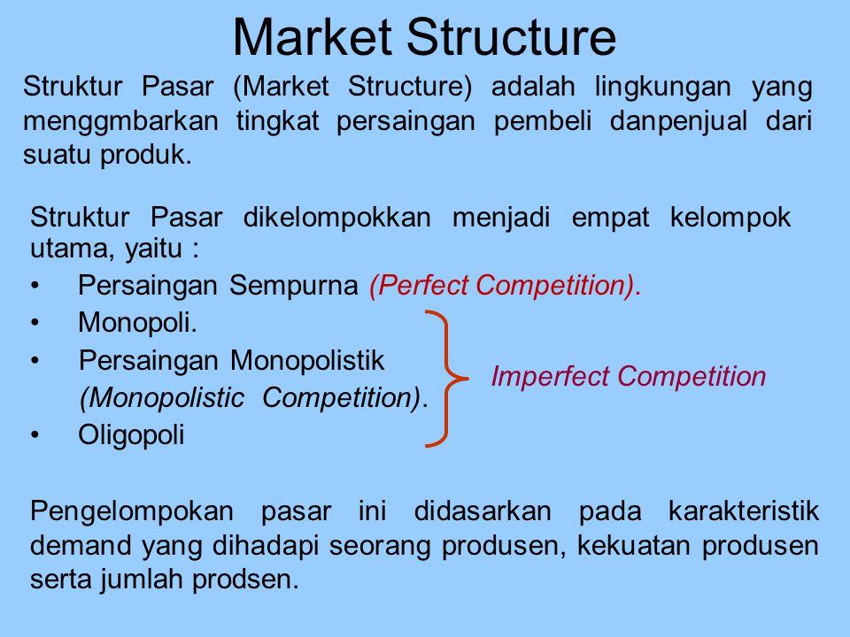 Market Structure Struktur Pasar (Market Structure) adalah lingkungan yang menggmbarkan tingkat persaingan pembeli danpenjual dari suatu produk. Strukt