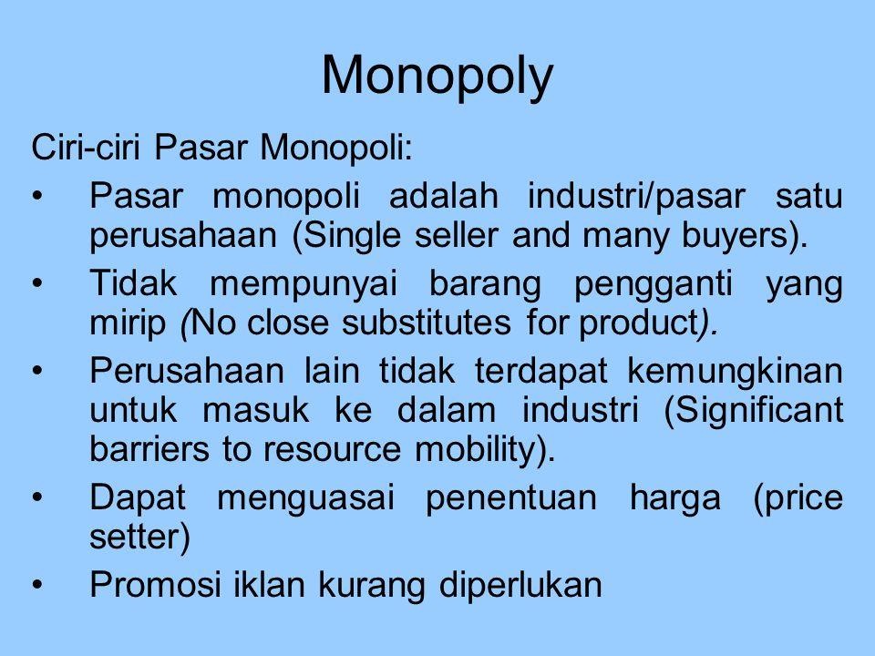Ciri-ciri Pasar Monopoli: Pasar monopoli adalah industri/pasar satu perusahaan (Single seller and many buyers). Tidak mempunyai barang pengganti yang