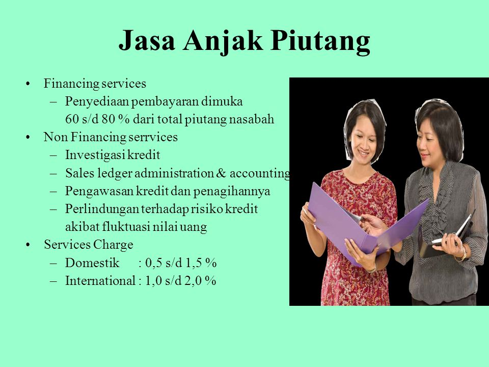 Undisclosed Factoring Suplier (Klien)Customer (Debitur) Perusahaan Anjak Piutang (Factor) 1. Penjualan 2. Faktur 3. Pelunasan 4. Pembayaran 5. Pembaya