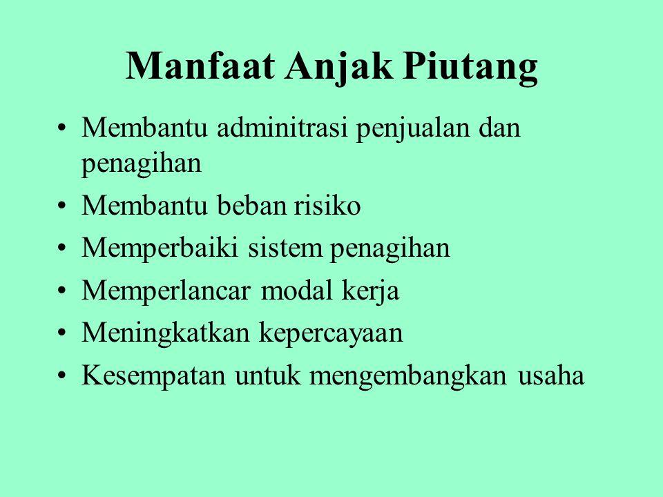 Jasa Anjak Piutang Financing services –Penyediaan pembayaran dimuka 60 s/d 80 % dari total piutang nasabah Non Financing serrvices –Investigasi kredit