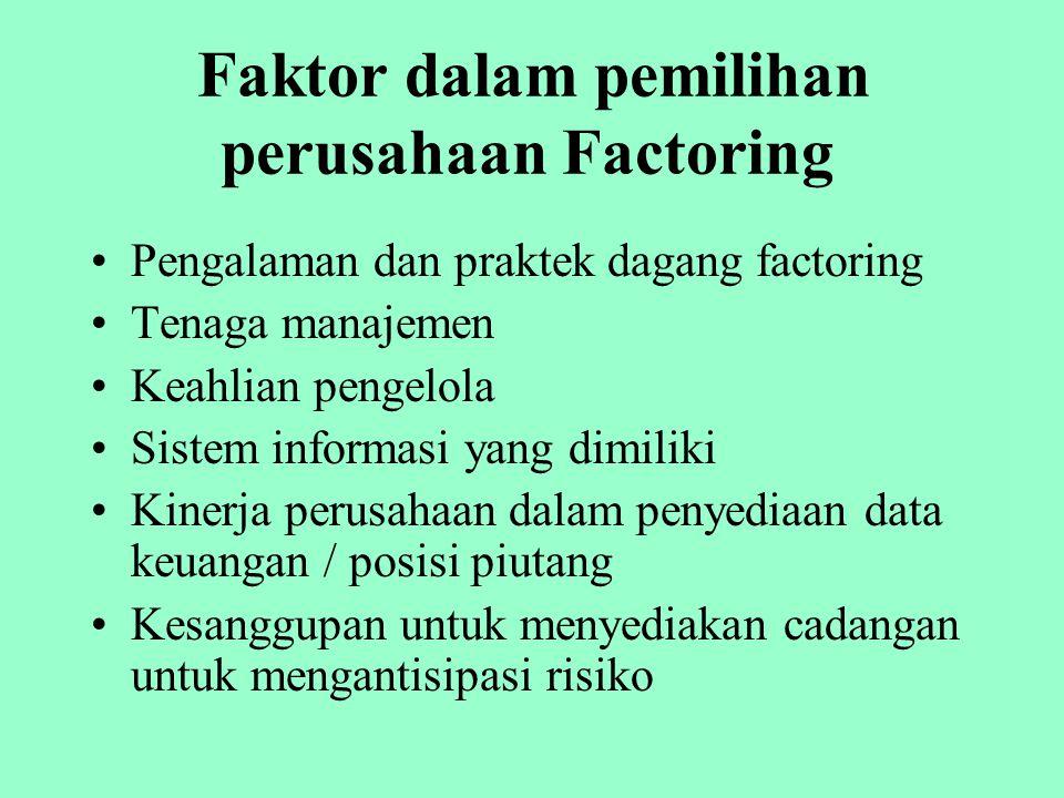 Informasi yang diperlukan perusahaan Anjak Piutang Riwayat piutang macet klien Penilaian kredit oleh klien Manajemen kredit klien Sektor industri Pers