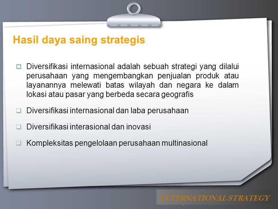 Your Logo Hasil daya saing strategis  Diversifikasi internasional adalah sebuah strategi yang dilalui perusahaan yang mengembangkan penjualan produk