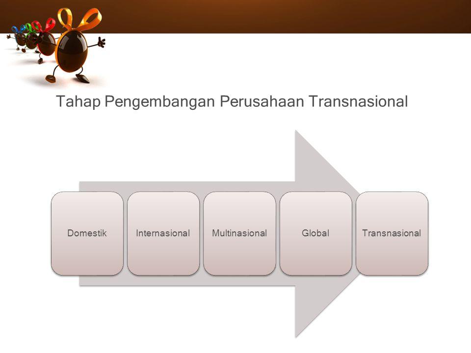 Tahap Pengembangan Perusahaan Transnasional DomestikInternasionalMultinasionalGlobalTransnasional
