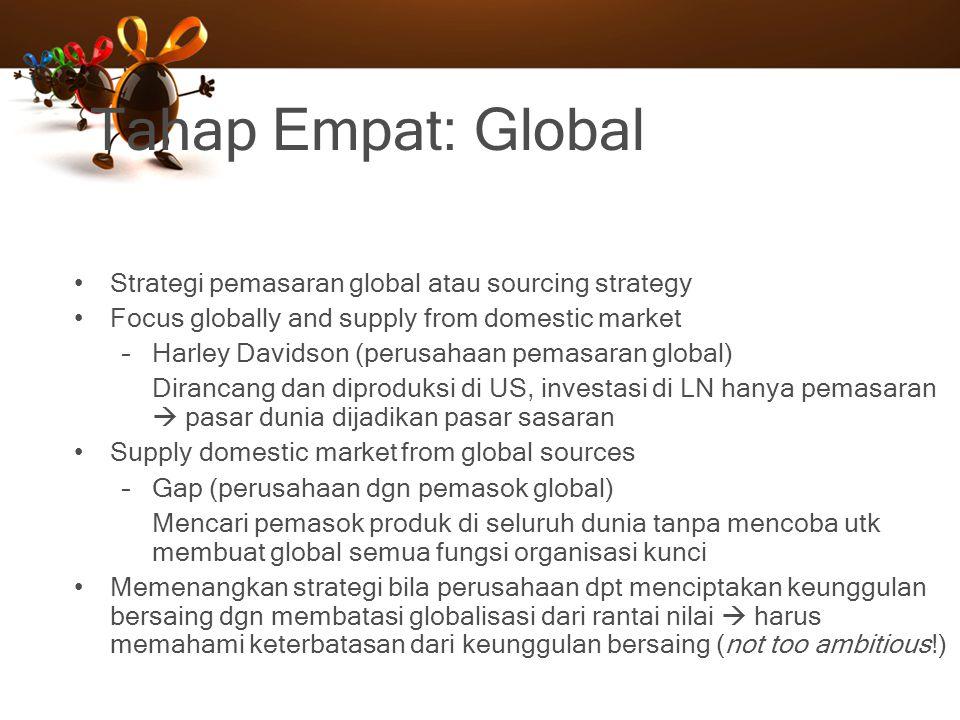 Tahap Empat: Global Strategi pemasaran global atau sourcing strategy Focus globally and supply from domestic market –Harley Davidson (perusahaan pemas