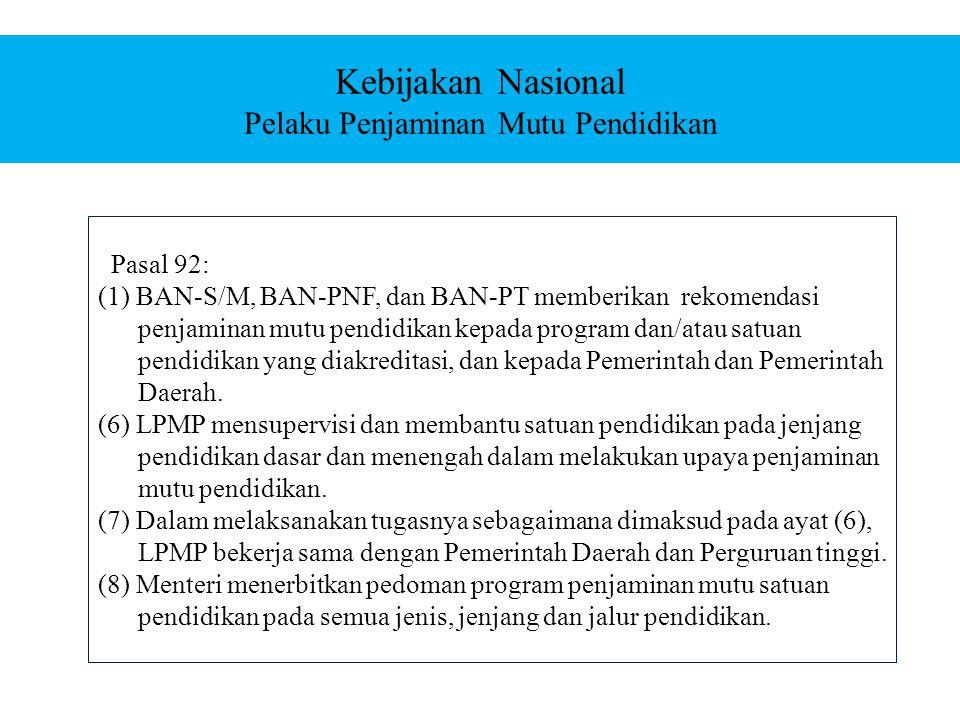 Pasal 92: (1) BAN-S/M, BAN-PNF, dan BAN-PT memberikan rekomendasi penjaminan mutu pendidikan kepada program dan/atau satuan pendidikan yang diakreditasi, dan kepada Pemerintah dan Pemerintah Daerah.
