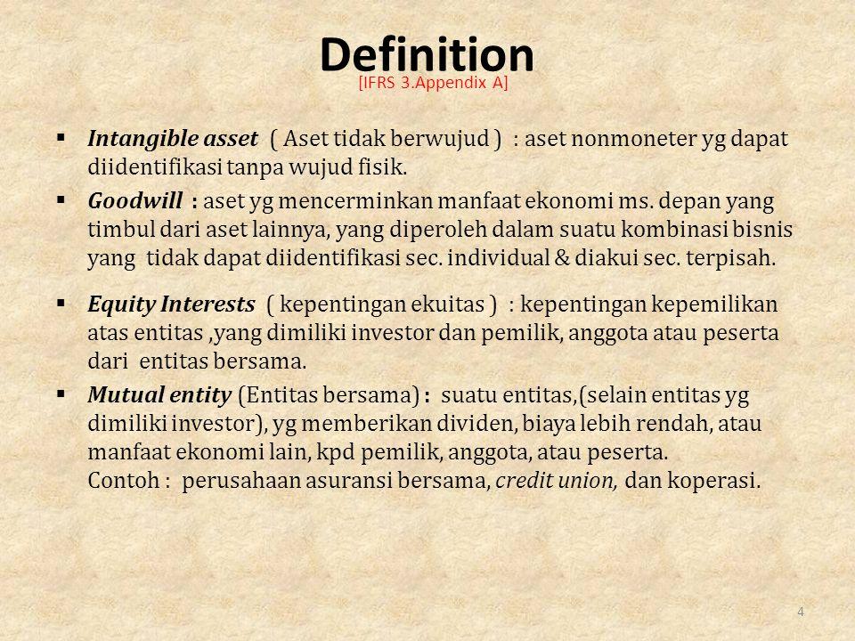  Intangible asset ( Aset tidak berwujud ) : aset nonmoneter yg dapat diidentifikasi tanpa wujud fisik.