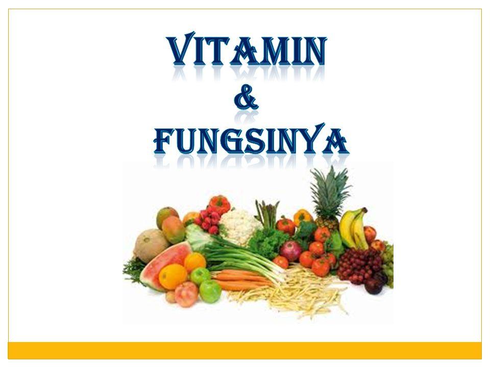 Penyakit Akibat Kekurangan Vitamin Macam-macam Vitamin Kekurangan A Menimbulkan buta senja B Beri-beri C Sariawan, perasaan lemah D Rakhitis pada anak E Kemandulan K Darah sukar membeku