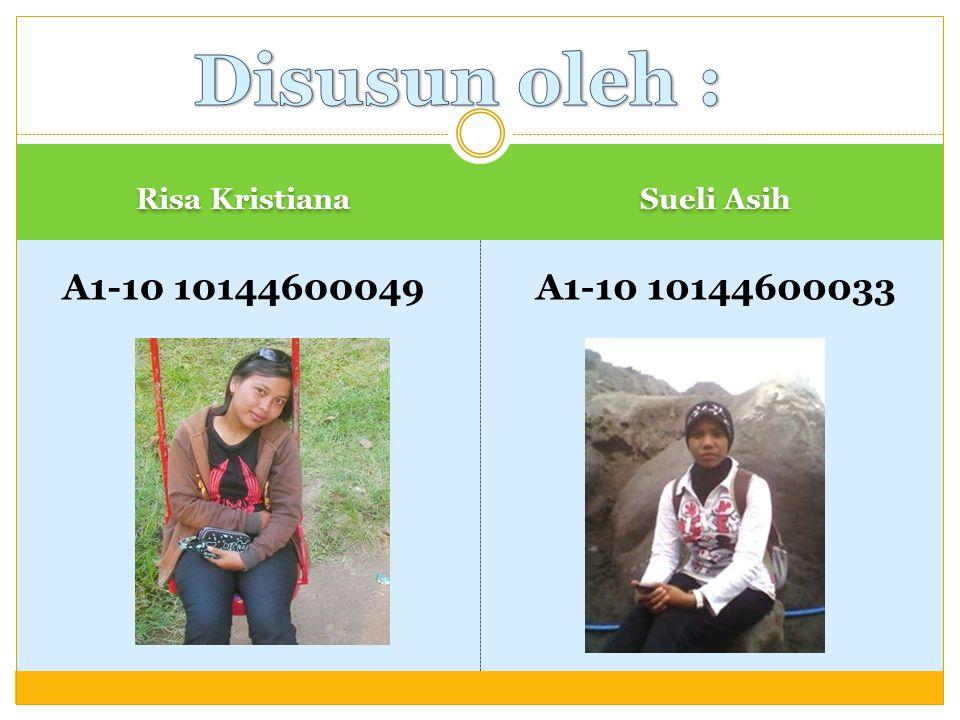 Risa Kristiana Sueli Asih A1-10 10144600049A1-10 10144600033