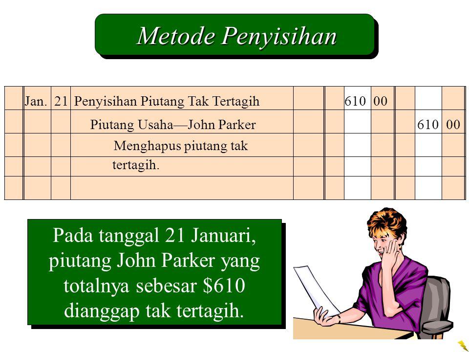 Pada tanggal 21 Januari, piutang John Parker yang totalnya sebesar $610 dianggap tak tertagih. Jan. 21Penyisihan Piutang Tak Tertagih 610 00 Piutang U