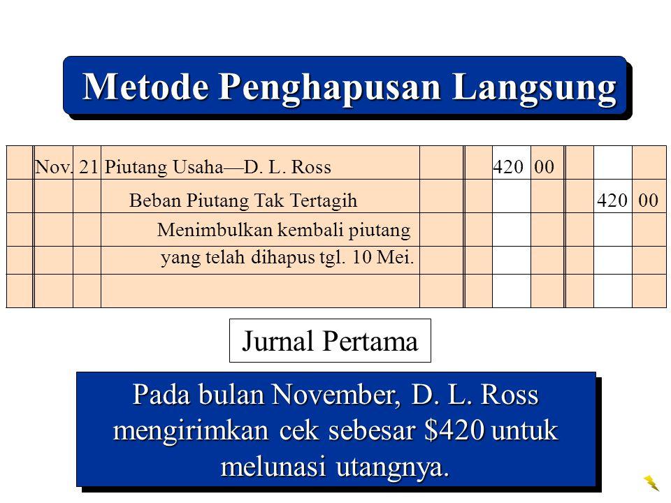Pada bulan November, D. L. Ross mengirimkan cek sebesar $420 untuk melunasi utangnya. Nov. 21 Piutang Usaha—D. L. Ross 420 00 Beban Piutang Tak Tertag