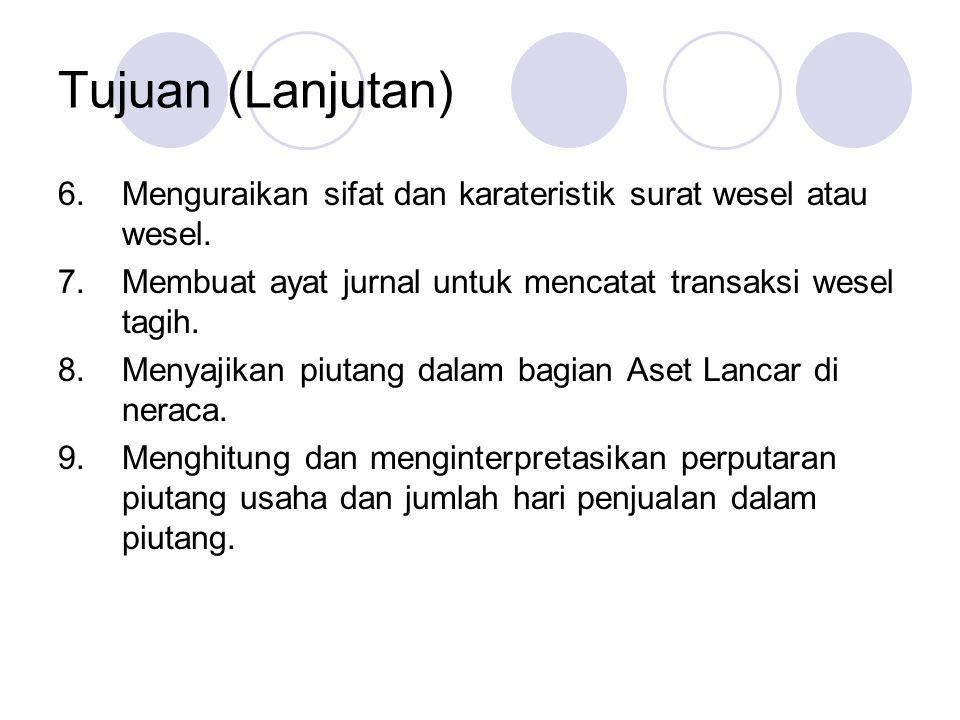 Akuntansi untuk Wesel Tagih Menerima wesel dengan nilai nominal $6.000, jangka waktu 30 hari, bunga 12% tanggal 21 November dari W.