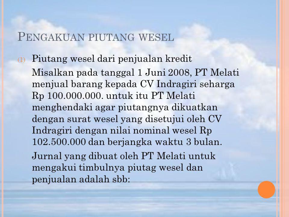 P ENGAKUAN PIUTANG WESEL (1) Piutang wesel dari penjualan kredit Misalkan pada tanggal 1 Juni 2008, PT Melati menjual barang kepada CV Indragiri sehar