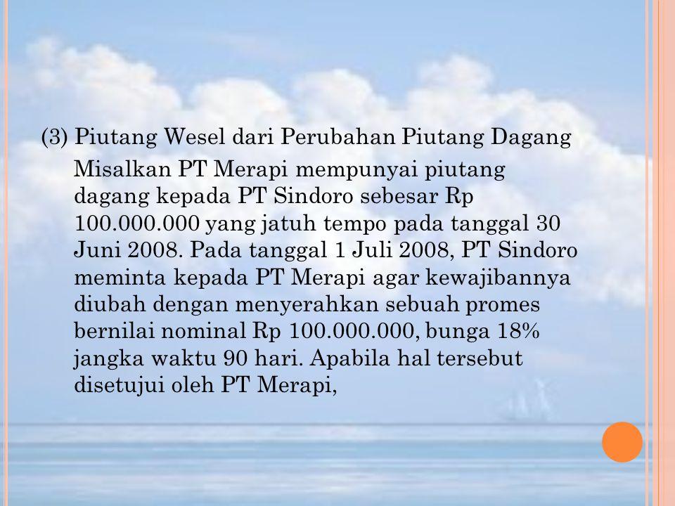 (3) Piutang Wesel dari Perubahan Piutang Dagang Misalkan PT Merapi mempunyai piutang dagang kepada PT Sindoro sebesar Rp 100.000.000 yang jatuh tempo