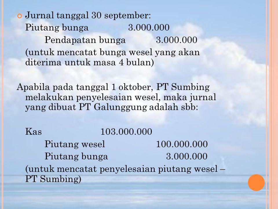 Jurnal tanggal 30 september: Piutang bunga3.000.000 Pendapatan bunga3.000.000 (untuk mencatat bunga wesel yang akan diterima untuk masa 4 bulan) Apabi