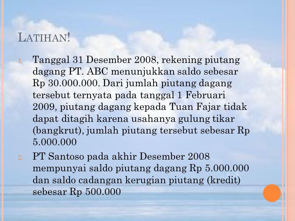 L ATIHAN ! 1. Tanggal 31 Desember 2008, rekening piutang dagang PT. ABC menunjukkan saldo sebesar Rp 30.000.000. Dari jumlah piutang dagang tersebut t