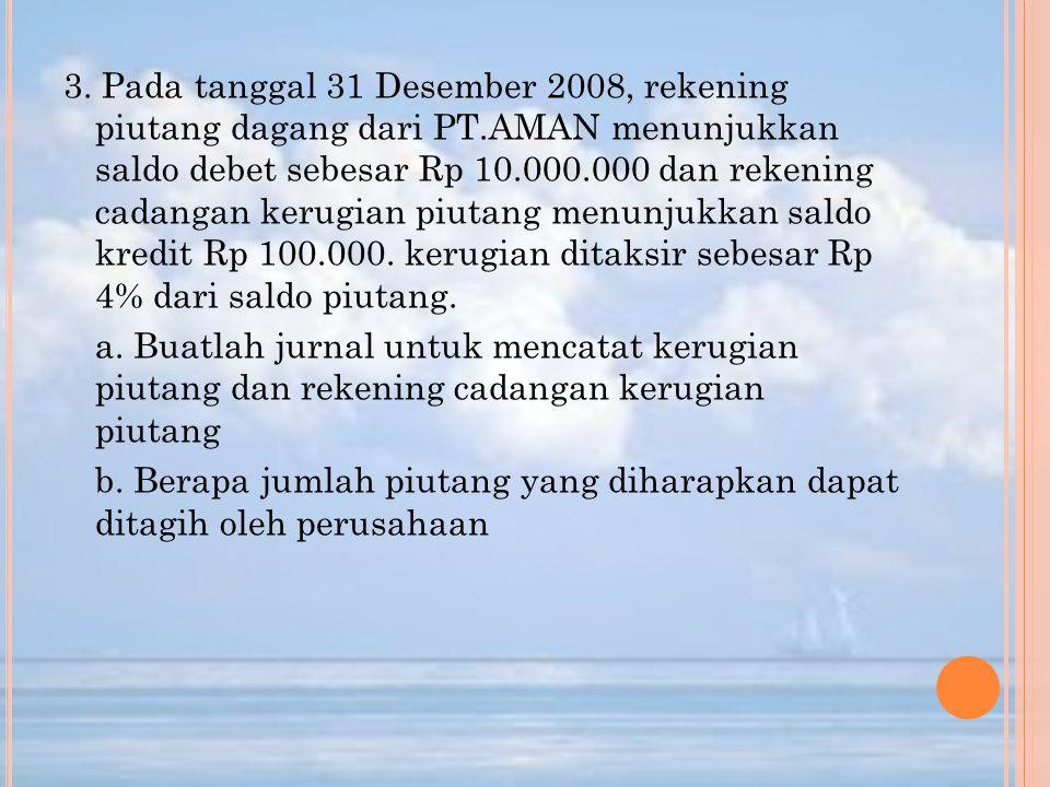 3. Pada tanggal 31 Desember 2008, rekening piutang dagang dari PT.AMAN menunjukkan saldo debet sebesar Rp 10.000.000 dan rekening cadangan kerugian pi