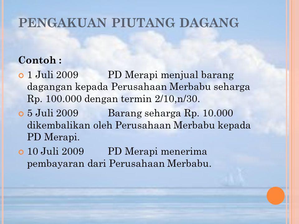 PENGAKUAN PIUTANG DAGANG Contoh : 1 Juli 2009PD Merapi menjual barang dagangan kepada Perusahaan Merbabu seharga Rp. 100.000 dengan termin 2/10,n/30.