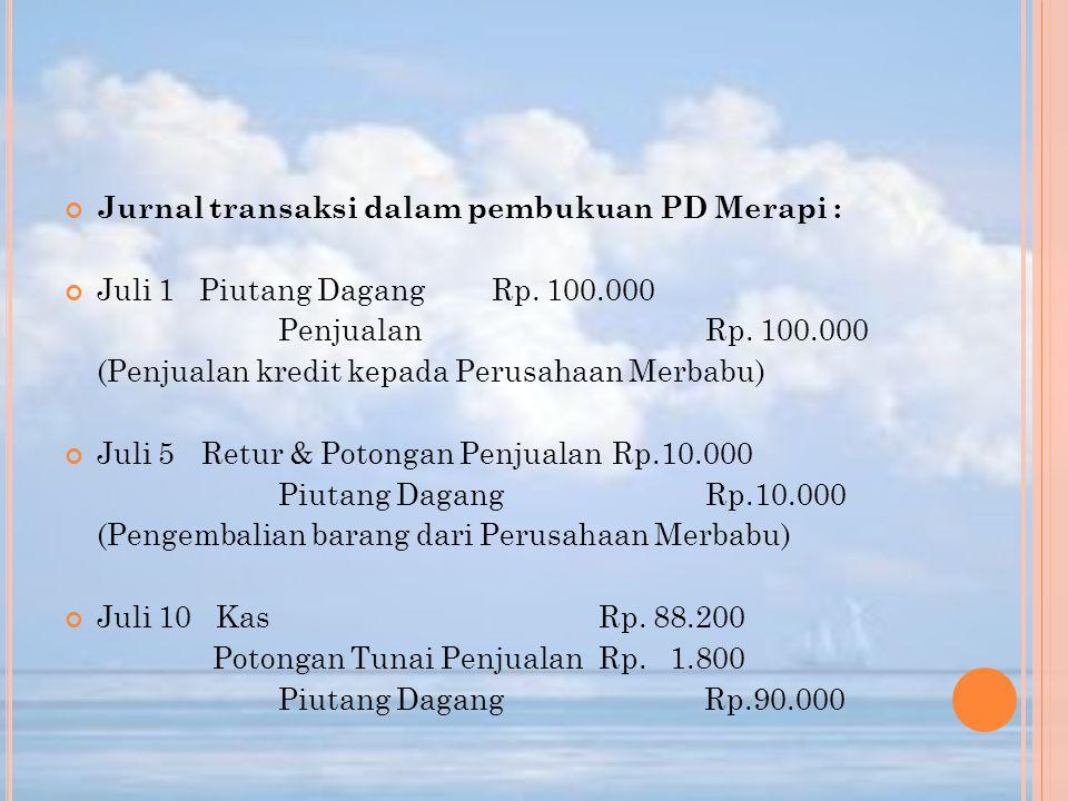 Jurnal transaksi dalam pembukuan PD Merapi : Juli 1 Piutang DagangRp. 100.000 PenjualanRp. 100.000 (Penjualan kredit kepada Perusahaan Merbabu) Juli 5