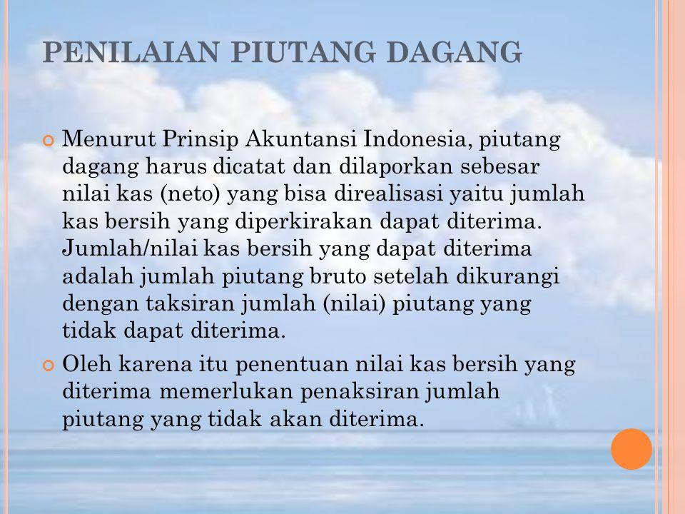 PENILAIAN PIUTANG DAGANG Menurut Prinsip Akuntansi Indonesia, piutang dagang harus dicatat dan dilaporkan sebesar nilai kas (neto) yang bisa direalisa
