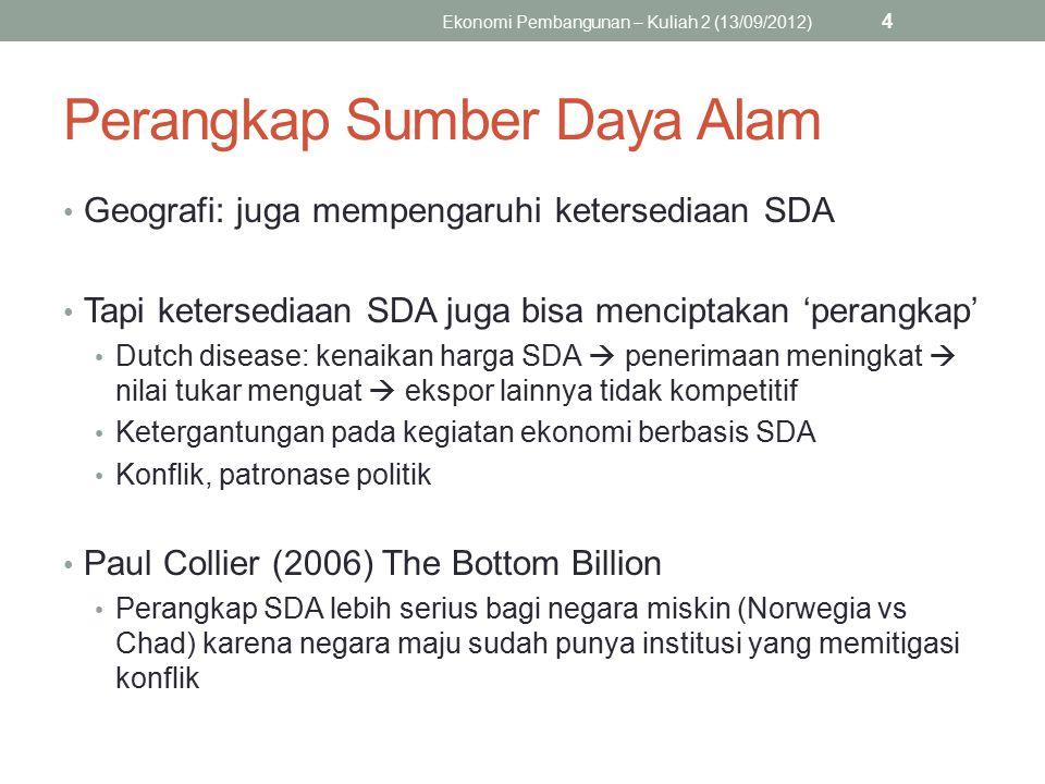 Perangkap Sumber Daya Alam Geografi: juga mempengaruhi ketersediaan SDA Tapi ketersediaan SDA juga bisa menciptakan 'perangkap' Dutch disease: kenaika