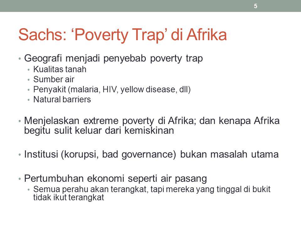 5 Sachs: 'Poverty Trap' di Afrika Geografi menjadi penyebab poverty trap Kualitas tanah Sumber air Penyakit (malaria, HIV, yellow disease, dll) Natura