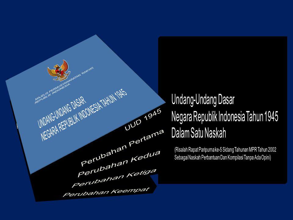 UUD di Indonesia UUD 1945 17-8-1945 s.d 27-12- 1949 Pembukaan, 16 bab, 37 pasal, 4 pasal aturan peralihan, 2 ayat aturan tambahan, dan bagian penjelas