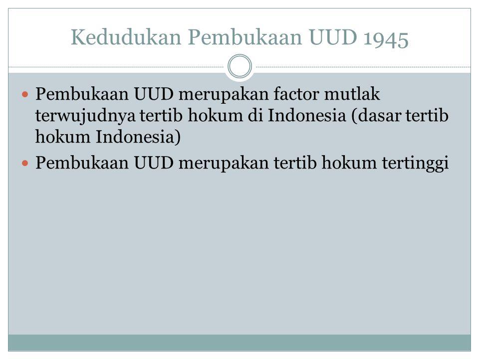 Kedudukan Pembukaan UUD 1945 Pembukaan UUD merupakan factor mutlak terwujudnya tertib hokum di Indonesia (dasar tertib hokum Indonesia) Pembukaan UUD