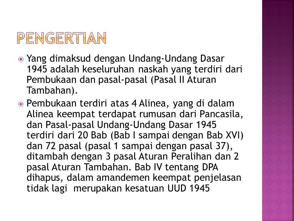  Dengan demikian pengertian UUD 1945 dapat digambarkan sebagai berikut:  UUD 1945 PEMBUKAAN Terdiri dari: 4 ALINEA ALINEA 4 : Terdapat rumusan Sila-sila dari Pancasila dan PASAL-PASAL Terdiri dari : Bab I s.d.