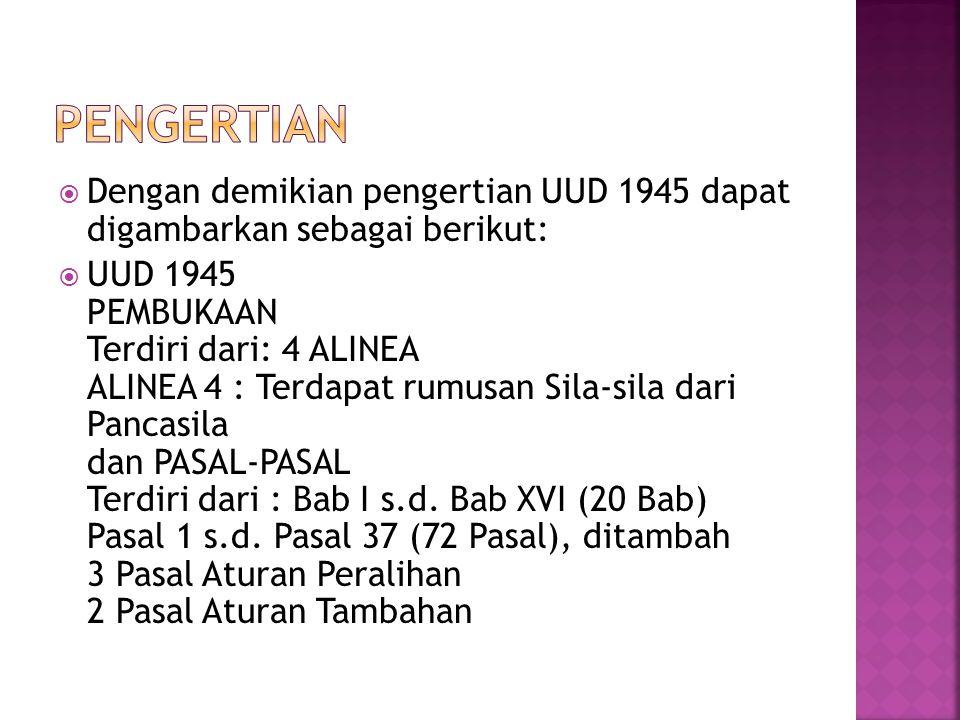  Dengan demikian pengertian UUD 1945 dapat digambarkan sebagai berikut:  UUD 1945 PEMBUKAAN Terdiri dari: 4 ALINEA ALINEA 4 : Terdapat rumusan Sila-