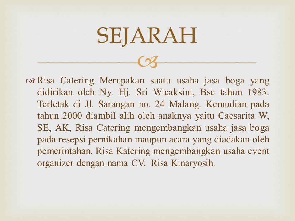   Risa Catering Merupakan suatu usaha jasa boga yang didirikan oleh Ny. Hj. Sri Wicaksini, Bsc tahun 1983. Terletak di Jl. Sarangan no. 24 Malang. K