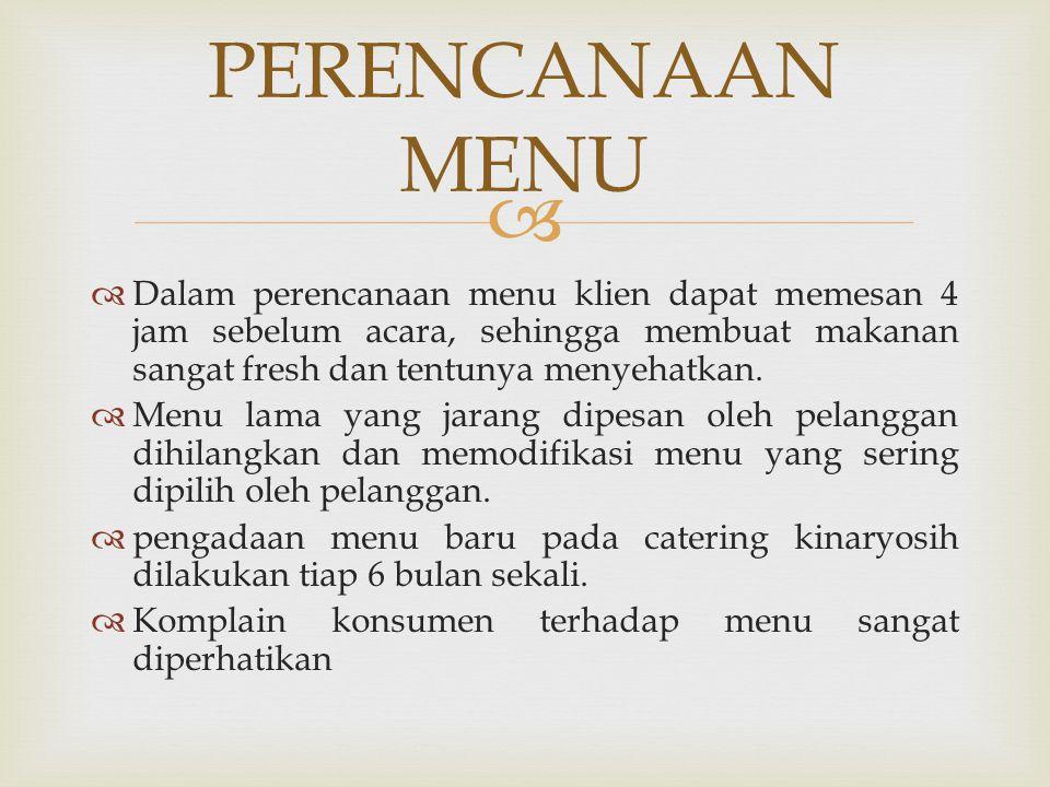   Dalam perencanaan menu klien dapat memesan 4 jam sebelum acara, sehingga membuat makanan sangat fresh dan tentunya menyehatkan.  Menu lama yang j
