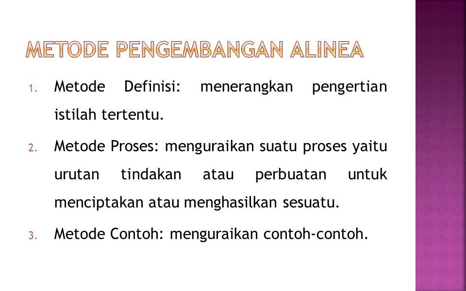 1. Metode Definisi: menerangkan pengertian istilah tertentu. 2. Metode Proses: menguraikan suatu proses yaitu urutan tindakan atau perbuatan untuk men