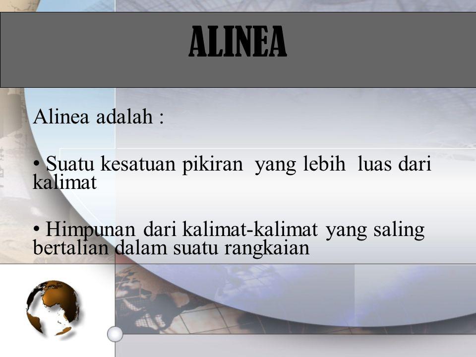 ALINEA Alinea adalah : Suatu kesatuan pikiran yang lebih luas dari kalimat Himpunan dari kalimat-kalimat yang saling bertalian dalam suatu rangkaian