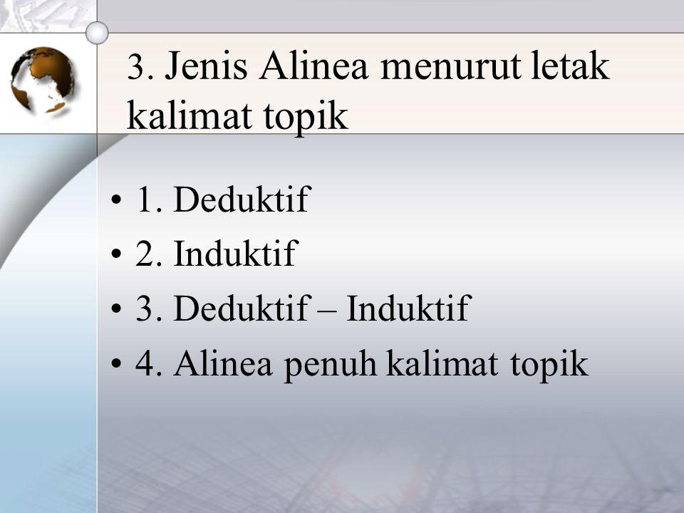 3. Jenis Alinea menurut letak kalimat topik 1. Deduktif 2. Induktif 3. Deduktif – Induktif 4. Alinea penuh kalimat topik