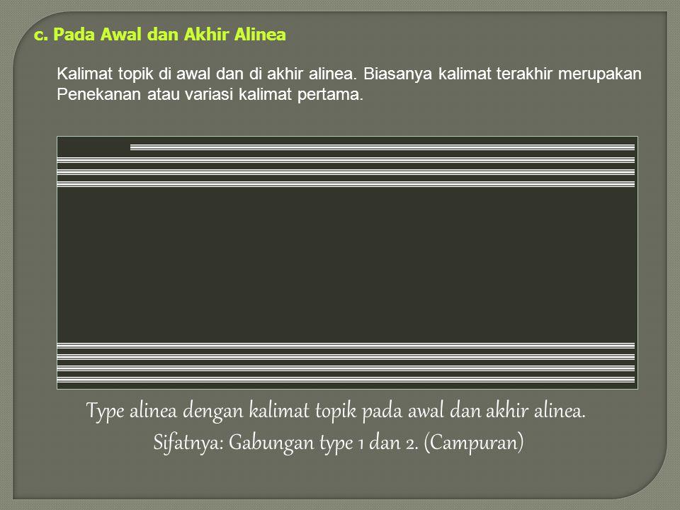 b. Pada akhir alinea Menghasilkan alinea Induktif. Cara yang lebih sulit namun lebih efektif untuk mengungkapkan argumentasi Type alinea dengan kalima