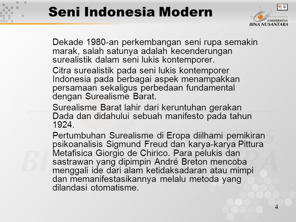 5 Seni Indonesia Modern Dalam konteks seni rupa Indonesia, citra surealistik sesungguhnya dapat ditemui pada larya-karya seni Zaman Hindu seperti pada relief atau lukisan.