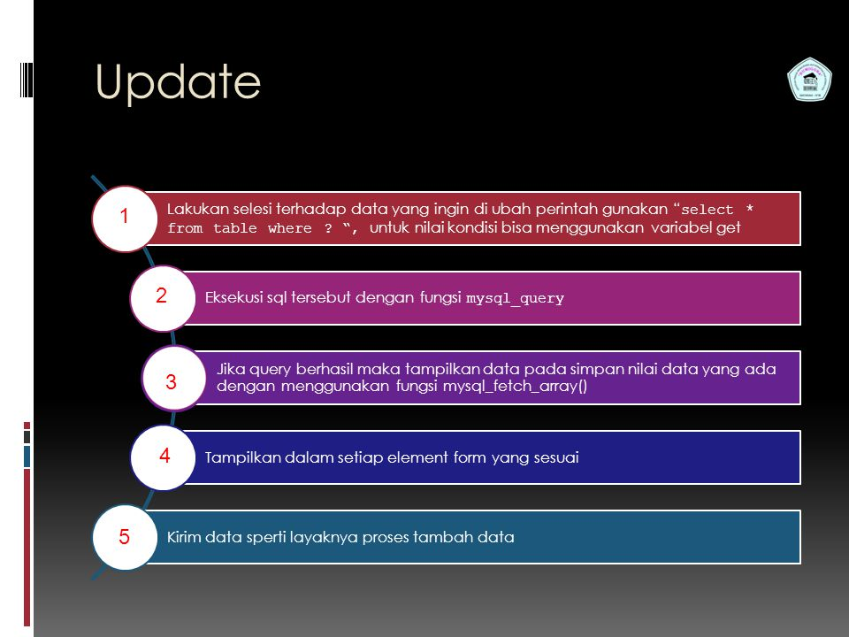 Pemrograman Web S1 Teknik Informatika STMIK Bumigora Update Lakukan selesi terhadap data yang ingin di ubah perintah gunakan select * from table where .