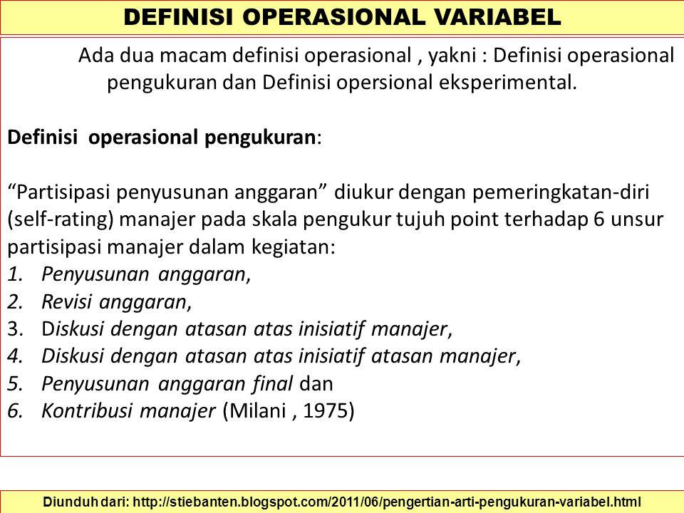 DEFINISI KONSEP VARIABEL Proses pengukuran dilakukan melalui tahapan mendefinisikan konsep secara konstitutif dan secara operasional. Definisi konsep