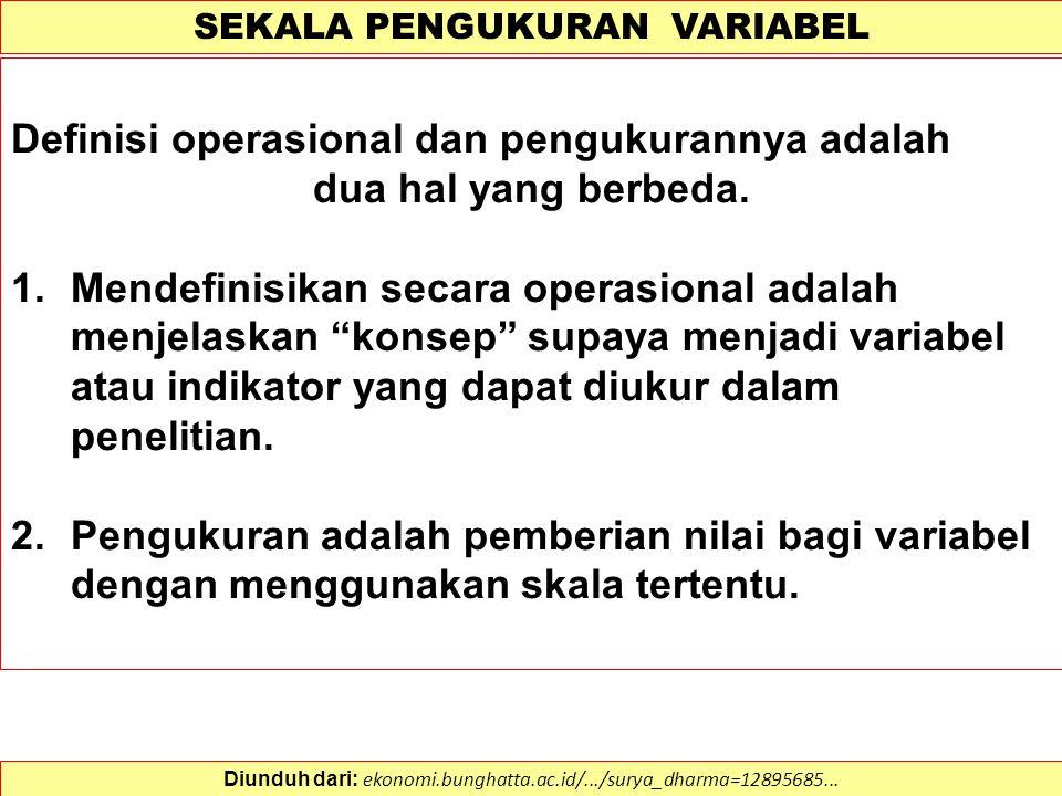 DEFINISI OPERASIONAL VARIABEL 1.Adalah definisi yang dibuat secara spesifik sesuai dengan kriteria pengujian atau pengukurannya, dibentuk dengan cara