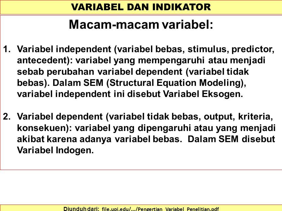 VARIABEL DAN INDIKATOR Diunduh dari: file.upi.edu/.../Pengertian_Variabel_Penelitian.pdf Pengertian Variabel Penelitian 1.Variabel : atribut, obyek yang mempunyai variasi di antara yang satu dengan yang lain.